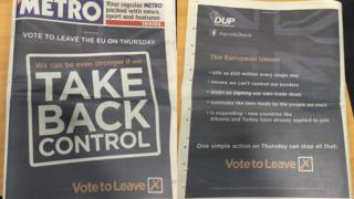 The DUP's pro-Brexit advertisement in the Metro