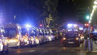 Ambulance lined up near the scene after a truck ploughed through a crowd in Nice on Bastille Day