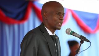 President Jovenel Moise at an event marking eighth anniversary of earthquake, speaking on stage in Port-au-Prince