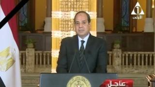 """埃及总统塞西发表电视讲话说,""""武装部队和警察将为我们的烈士复仇""""。"""