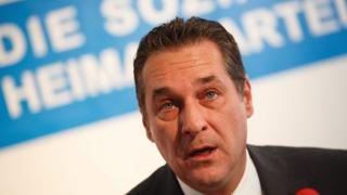 The leader of right-wing Austrian Freedom Party (FPOe) Heinz Christian Strache during a news conference in Vienna, Austria, on 8 June 2016