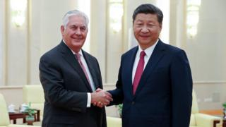 U.S. Secretary of State Rex Tillerson (L) shakes hands with Chinese President Xi Jinping (R) before their meeting at the Great Hall of the People on September 30, 2017 in Beijing, China.