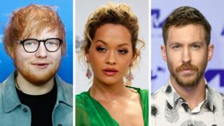 Ed Sheeran, Rita Ora and Calvin Harris