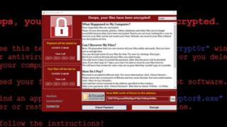 The ransomware has been identified as WannaCry - here shown in a safe environment on a security researcher's computer