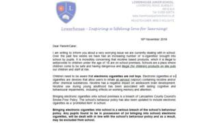 The letter sent to parents of pupils at Lowerhouse Primary School, Burnley