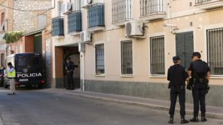 Spanish police in San Martin de la Vega in Madrid, 25 Aug