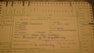 The original forensic card summarising the autopsy findings over the Isdal Woman's death