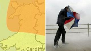 A map showing the weather covered by the weather warnings and a man with an umbrella being blown by strong winds