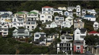 Houses in Oriental Bay in Wellington, New Zealand