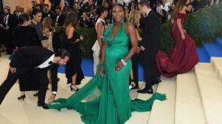 May 1, 2017 shows Serena Williams as she arrives at the Costume Institute Benefit at the Metropolitan Museum of Art in New York