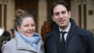Rebecca Steinfeld and Charles Keidan outside the Royal Courts of Justice