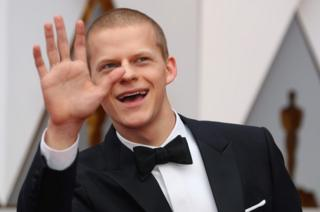 Actor Lucas Hedges poses on the red carpet