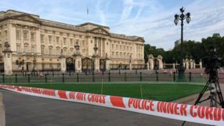 Police tape outside Buckingham Palace