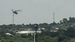 Helicopter gunship flying over Juba 11/07/2016