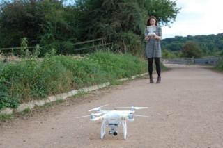 Caroline flying drone