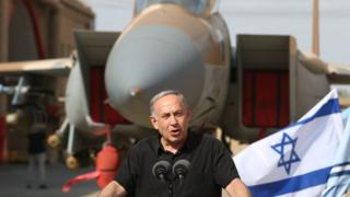 Israeli Prime Minister Benjamin Netanyahu visits Tel Nof Air Force base in central Israel on 17 August 2016