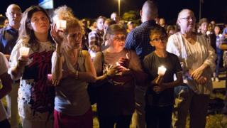 A candlelight vigil is observed on November 5, 2017 in Sutherland Springs, Texas