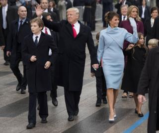 特朗普和夫人在就職典禮上。