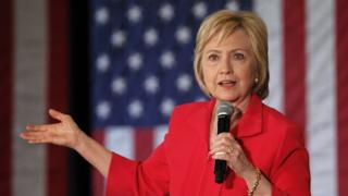 Democratic presidential candidate Hillary Clinton addresses the crowd during a campaign rally