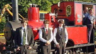 Jake, Joe and Ross Waddington with locomotive No.6