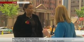 Brenda Wardle is interviewed on the BBC during Oscar Pistorius's trial