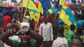 Protesters in Kinshasa