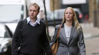 Tom Hayes arriving at court with his wife Sarah
