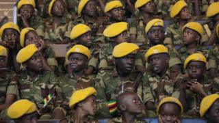 Young boys dressed in the Zimbabwean National Army uniform on Saturday in Harare to mark The Day of The African Child