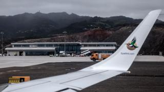 As seen from inside the cabin, the first ever commercial flight lands at St Helena Airport