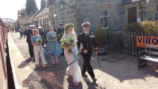 Daniel Nimmo was the guard on the Strathspey Railway when the last train from Aviemore to Boat of Garten conveyed this beautiful bride to her wedding.