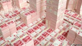 Piles of Chinese bank notes
