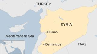 A BBC map showing the locations of Homs and Damascus in Syria
