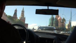 View of the Kremlin from inside a taxi
