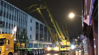 Primark crane being removed