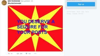 La imagen roja y amarilla con letras azules que le causó a Kurt Eichenwald el ataque epiléptico.