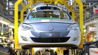 Production line at Vauxhall car factory