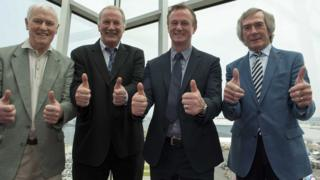Billy Hamilton (second left) with Northern Ireland manager Michael O'Neill, 1958 World Cup star Peter McParland and legendary goalkeeper Pat Jennings at the announcement of the squad for the Euro 2016 finals