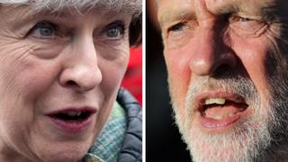 A composite image of Theresa May and Jeremy Corbyn
