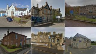 (Clockwise from top left) Police stations in Biggar, Giffnock, Hawick, Bo'Ness, Larkhall, Largs