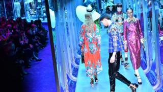 Gucci designs on the runway in Milan in February