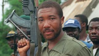 Charles Taylor photographed in May 1990 in Buchanan, Liberia