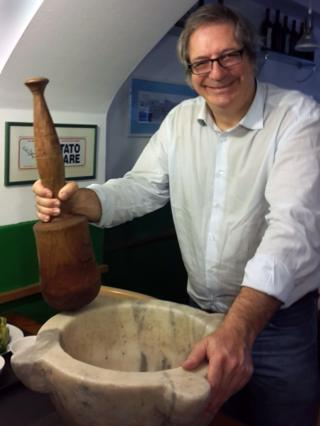 Roberto Panizza with his giant pestle and mortar