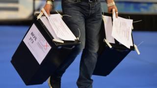 Ballot papers are counted during the UK Parliamentary Elections at the Emirates Arena on June 8, 2017 in Glasgow, Scotland