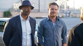 Roger Murtaugh [Damon Wayans] and Martin Riggs [Clayne Crawford] in a scene from Lethal Weapon