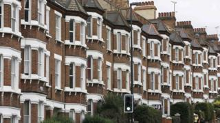 Row of terraced houses in south London