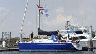 "Members of the Dutch organization Women on Waves can be seen on the group's ""abortion ship"" as it visited the Pez Vela Marina in the port of San Jose,"