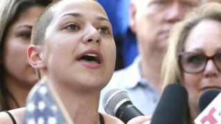 Marjory Stoneman Douglas High School student Emma Gonzalez speaks at a rally for gun control at the Broward County Federal Courthouse in Fort Lauderdale, Florida on February 17, 2018.