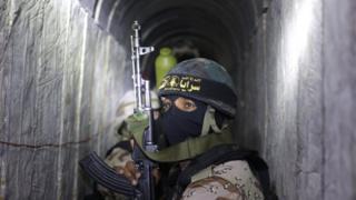 Palestinian militant in tunnel in Gaza (file photo)