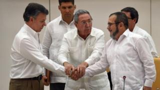 Juan Manuel Santos, Raul Castro and Timochenko in Havana