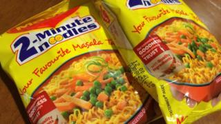 Two packets of the re-launched Maggi noodles in India